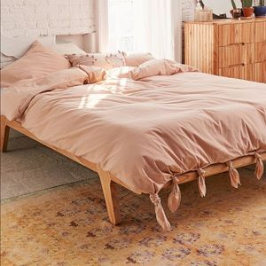 UO Knotted Washed Cotton Queen Duvet Set, Sand